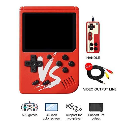 SDGDFXCHN Retro FC Handheld-Spielekonsole 500 Classic Games, 3-Zoll-Bildschirmunterstützung TV-Videospiel-Player Tick & 1 Controller, Geburtstagsgeschenke für Kinder bis Erwachsene (Gameboy Handheld)