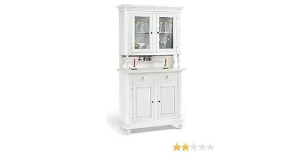 Credenza Vetrinetta Arte Povera Prezzo : Credenza napoletana base alzata cristalliera vetrina colore bianco