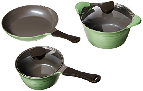 Neoflam Eela Ceramic 5 Piece Nonstick Cookware Set, Apple Green by Neoflam