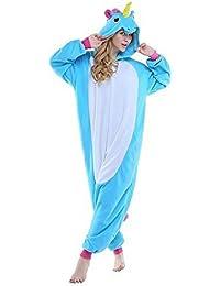 Rainbow Fox Unicornio pijama adultos Cosplay disfraz Animal Ropa de dormir Franela Novedad Víspera de Todos
