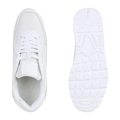 Herren Sportschuhe Leder-Optik | Sneakers Velours Glitzer | Metallic Runners | Freizeitschuhe Schnürer Weiss Weiss Brooklyn