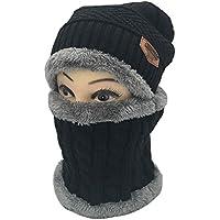 JER Unisex Slouchy Beanie Wintermütze Knit warmer Schnee Ski Schädel Kappe Set für den Herbst und Winter Schwarz Winter Hut Schal