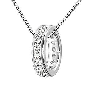 CLEVER SCHMUCK Set Silberner Kleiner Mini Taufring 10 mm viele Zirkonias weiß ringsum & Kette Venezia 36 cm Sterling Silber 925 rhodiniert