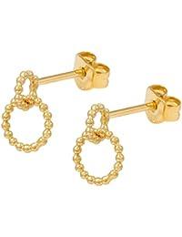 52f5e4401e50 Charlotte WOO-ETg - Pendientes de oro para mujer con dos anillos de bolas  pequeñas