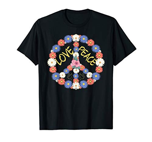 70er Kostüm Party Motto Jahre - Hippie Kostüm Peace Love Blumen Frieden Symbol T-Shirt