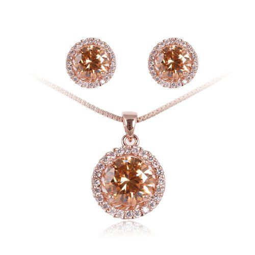 ed42f4445c3 FAIRY COUPLE - Femme - Plaqué Or Jaune 18 Carats Cristal Clair Zircone  Champagne Collier Boucle