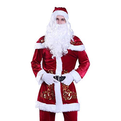 shuhong Weihnachtsmann-Kostüm Erwachsene Herren Weihnachtskostüme Herren Weihnachtsmann, Deluxe Velour Santa Suit, Xmas, Warm Halten 9-teiliges Kostüm, 4XL-6XL,XXXXL