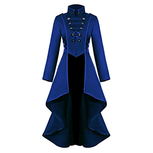 Smonke Damen Steampunk Gothic Long Coat Mantel Retro Jacke Barock Punk Steampunk Vintage Viktorianischen Langer Kostüm Cosplay Kostüm Smoking Uniform (Kurzen Rock Lange Jacke Kostüm)