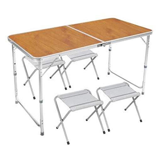 YUWEN Küche Esszimmer Garten Outdoor Camping Klapp Portable 4 Stuhl Tisch Set,B (Buffet-tisch Zum Verkauf)