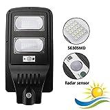 Faro lampada con pannello solare per lampione stradale a led 60W da esterno IP65 luce bianco ghiaccio 6500K in alluminio nero
