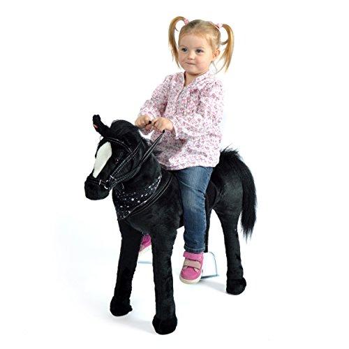 Plüschpferd XXL 75 cm - Stehpferd Polly - fast lebensgroßes Spielpferd zum drauf sitzen bis 100 kg belastbar, mit verschiedenen Sounds, Spielzeug Pferd zum Träumen von Pink Papaya Toys