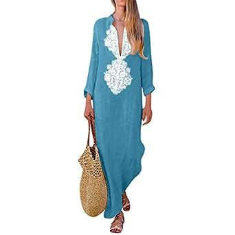 39468545c34 ESAILQ Womens Paisley Long Sleeve Slit Maxi Dress Baggy Cotton Linen Kaftan  Dress  Amazon.co.uk  Clothing