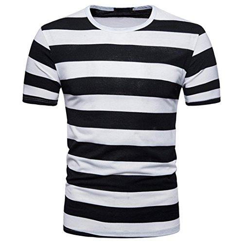 Ningsun cool t-shirt da uomo a manica corta estiva a striscia bianche e nere camicetta top men t-shirt stripe il classico pullover girocollo casual da uomo felpa (nero, l)