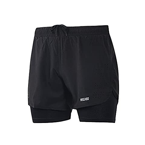 Lixada Mens 2-in-1 Running Shorts Quick Drying Breathable Active Training Exercise Jogging Cycling Shorts with Longer Liner