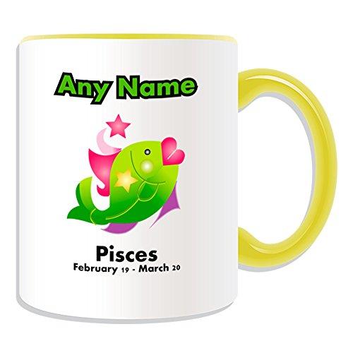 Cadeau personnalisé – Pisces Tasse (Thème du zodiaque, Couleur) – N'importe Quel Nom/Message sur votre unique – Astrologie signe astrologique Star Symbole poisson Février 19- Mars 20, Céramique, jaune