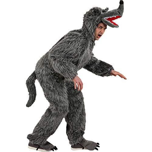 Böser Kostüm Hunde - Gruseliger Wolf-Jumpsuit für Männer Märchen / Grau in Größe 175 - 190 cm / Aufwendiges Hund-Kostüm Herren / Einsetzbar zu Après-Ski & Fasching