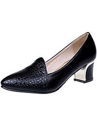 Covermason Zapatos Zapatillas de madera mujer, clásicos de tacón bajo para mujeres con tacones bajos