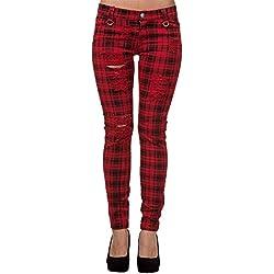 Pantalón escocés tipo jeans de pitillo de Banned (Rojo/Negro) - 36