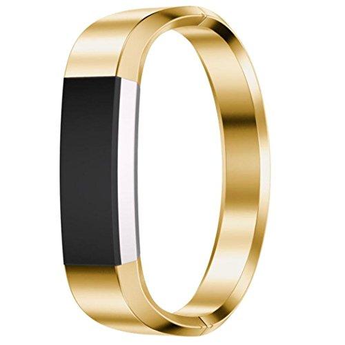 OVERDOSE Armband für Fitbit Alta HR, Edelstahl Uhrenarmband Armband für Fitbit Alta HR Smart Watch (Gold)