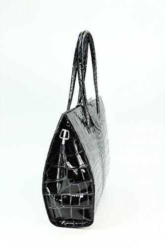 "BELLI ""Design Bag C"" ital. Ledertasche | Businesstasche | Jobbag - große Farbauswahl - 40x30x12 cm (B x H x T) Grau lack"