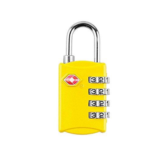 EXQULEG Reiseschloss TSA, Zahlenschloss Gepäckschlösser für Koffer Tasche Sicherheit 4-stellige Zahlenkombination Vorhängeschloss (gelb)