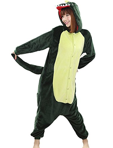 Dinosaurier Plüschkostüm Einteiler Jumpsuit für Erwachsense - Grün - Gr. (Teufel Frau Kostüme Halloween)