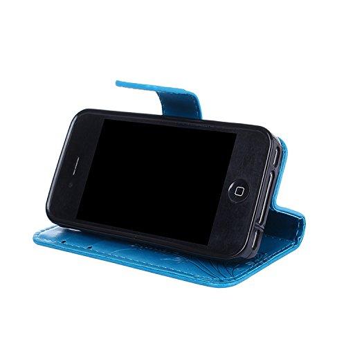 Cover Apple iphone 4 / 4S, Alfort 2 in 1 Custodia Protettiva in Pelle Verniciata Goffrata Farfalle e Fioria Alta qualità Cuoio Flip Stand Case per la Custodia Apple iphone 4 / 4S Ci sono Funzioni di S Blu