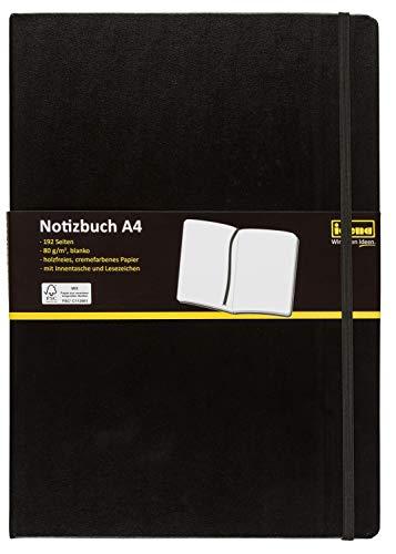 Idena 10053 Notizbuch FSC-Mix, A4, blanko, Papier cremefarben, 96 Blatt, 80 g/m², Hardcover in schwarz, 1 Stück