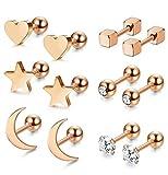 Milacolato 6 pares de pendientes de bola de acero inoxidable para hombres mujeres CZ cartílago Helix Ear Piercing
