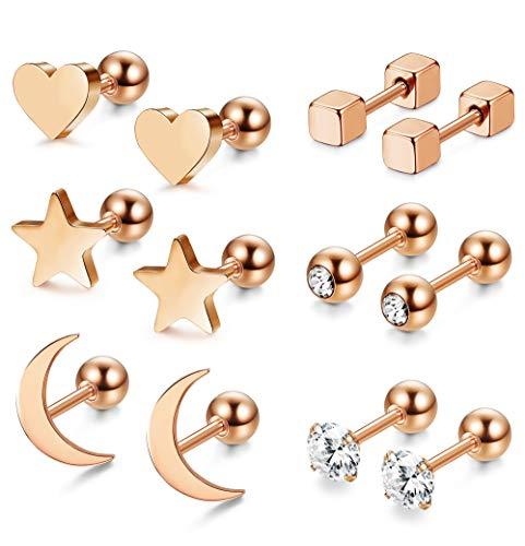 Milacolato 6 Pair of Stainless Steel Ball Earrings for Men Women CZ Cartilage Helix Ear Piercing