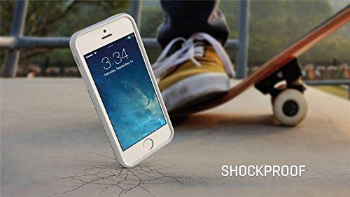 iPhone SE 5 5s Case, Hülle True Color® Schmal Chevron Waves Gedruckt auf freier transparenter Hybrid -Abdeckung Hard + Soft Slim dünnen haltbaren Schutzschutz aus Gummi TPU Stoßabdeckung - Teal Schmal White