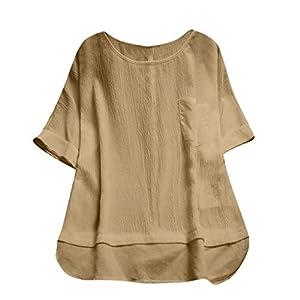 T Shirt Damen Sommer Bluse Shirts Tops Hemd Tunika Rundhals Kurzarm...