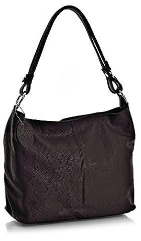 Big Handbag Shop Womens Genuine Italian Leather Unique Shoulder Strap Medium Bag (BI_507 Chocolate)