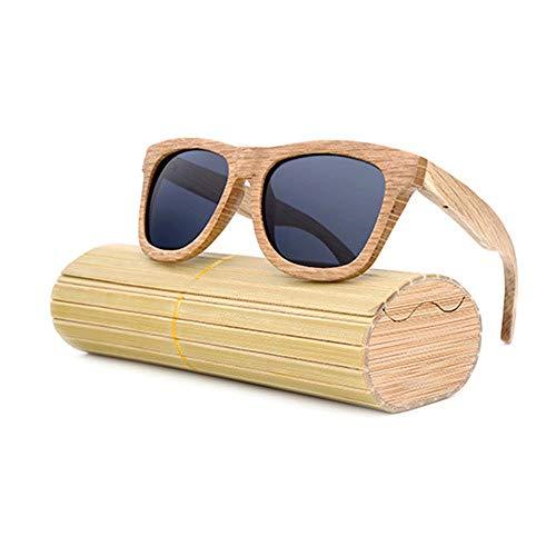 Männer Frauen Große Rahmen Polarisierte Klassische Vintage Sonnenbrille 100% UV Schutz Bambus Holz Sonnenbrille Für Brille (Color : Grau, Size : Kostenlos)