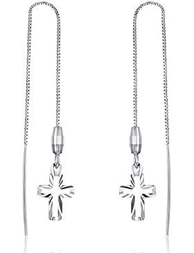 JiangXin Christus Kreuz 7.5 cm Lang Mädchen Box Kette 925 Sterling Silber Damen Ohrring Ohrhänger Ohrchmuck Süß...