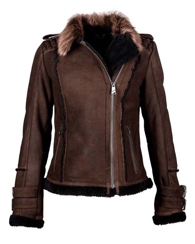 MAZE Lammfelljacke, Damen Pigalle seal brown
