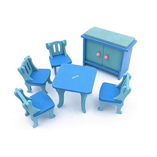 Holz Möbel Spielzeug Simulation Möbel Tisch Puppe Spielzeug Holz Puzzle Spielzeug Pädagogisches Pretend Playset Simuliert Hause Kinderspielzeug (Blau Esszimmer, 6 Stücke)