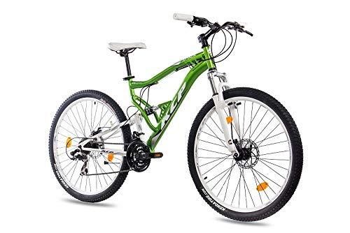 KCP 27,5 Zoll Mountainbike Fahrrad - MTB Attack grün Weiss - Vollfederung Mountain Bike Unisex für Herren, Damen oder Jungen, MTB Fully mit 21 Gang Shimano Schaltung und Zwei Scheibenbremsen (Mountainbike Scheibenbremsen)