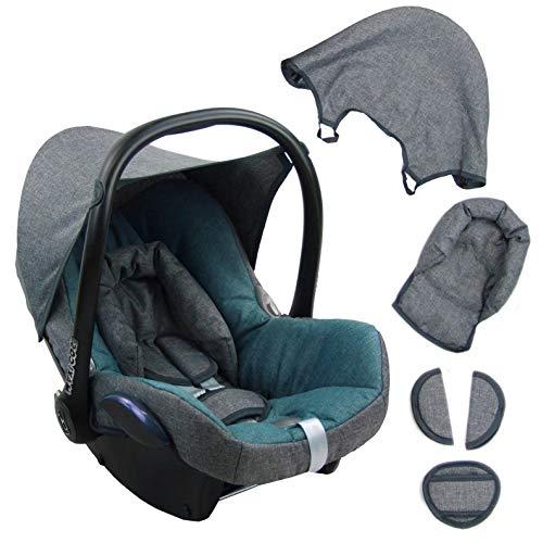 BAMBINIWELT Ersatzbezug für Maxi-Cosi CabrioFix 6-tlg. GRAU/TÜRKIS, Bezug für Babyschale, Komplett-Set