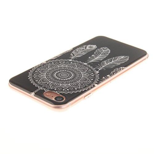 Cozy Hut ® Apple iPhone 7 Hülle | Premium iPhone 7 Cover | Tasche | Crystal – Clear | Etui | Silikon | Case | Schutz-Hülle | Bumper | transparente Weicheplastik Rückschale | flexible TPU Bumper - Wolf Schwarz Campanula