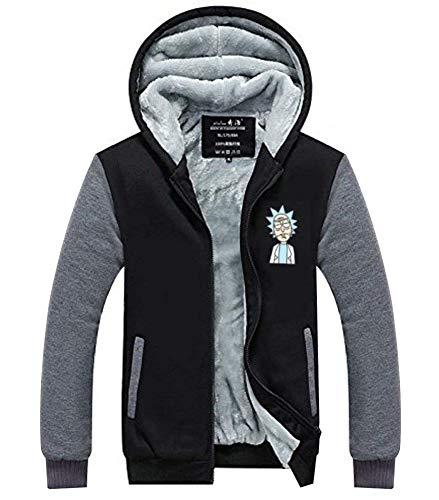 Wellgift Rick and Morty Hoodie Kapuzenpullover Anime DickWinter Jacke Cosplay Kostüm Herren Damen Plus Samt Zipper Sweatshirt Mantel Top Kleidung (Anime Cosplay Kostüm Plus Größe)