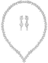 Swarovski Damen-Schmuckset Halskette + Ohrringe Platiniert Kristall transparent Marquiseschliff-5142738