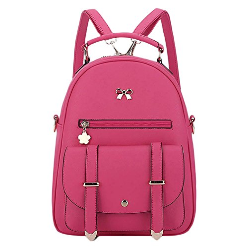 Donne Double-Shoulder simple girls School/Travel backpack Pink Pink Rose