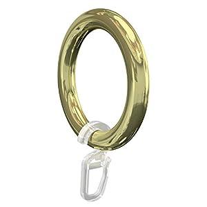 Flairdeco Gardinenringe/Ringe mit Faltenhaken, Plastik, Messing-Glanz, 57/41 mm, 10 Stück