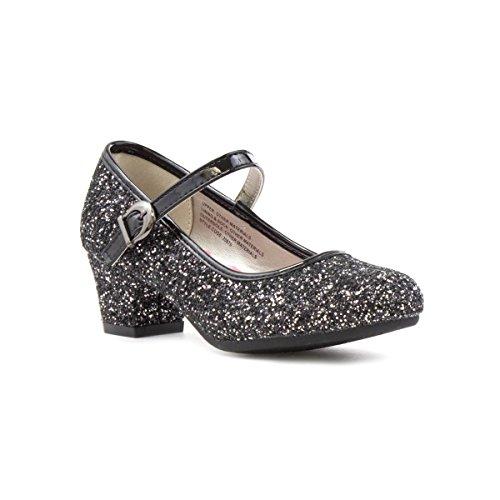 Lilley Sparkle Girls Glittery Heeled Bar Shoe - Size 10 - Black