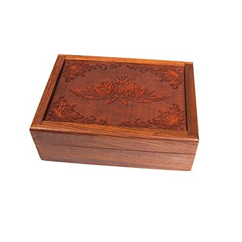 Schatulle Kästchen Schmuckkästchen Tarotdose aus Holz mit geschnitzter Lotusblüte handgemacht