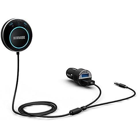 iClever® Himbox HB01 Kit Auto Bluetooth 4.0 per Auto con Jack Input Aux da 3,5 mm, Accesso Multiplo, Attivazione con Siri/Voce, inclusi Caricatore USB in Auto Doppio e Base Magnetica - Colore Nero