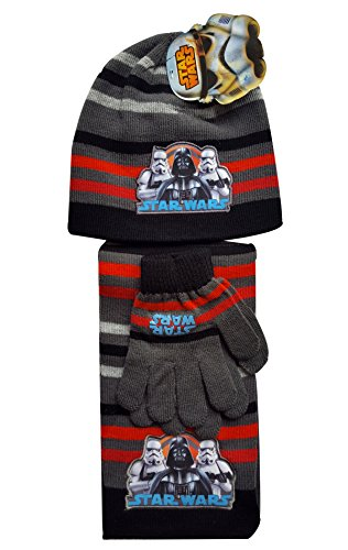 Boys-Official-Licensed-Star-Wars-Gloves-Beanie-Hat-Scarf-Set-One-size-4-10-Years