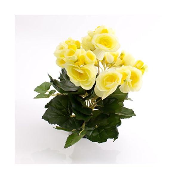 artplants.de Begonia Artificial con 27 Hojas, 9 Flores, Amarillo, 20cm, Ø 20cm – Planta Decorativa – Flores Artificiales