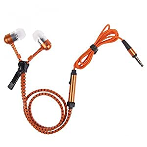 Dhhan Orange zipper headphones for Micromax Canvas Win W121